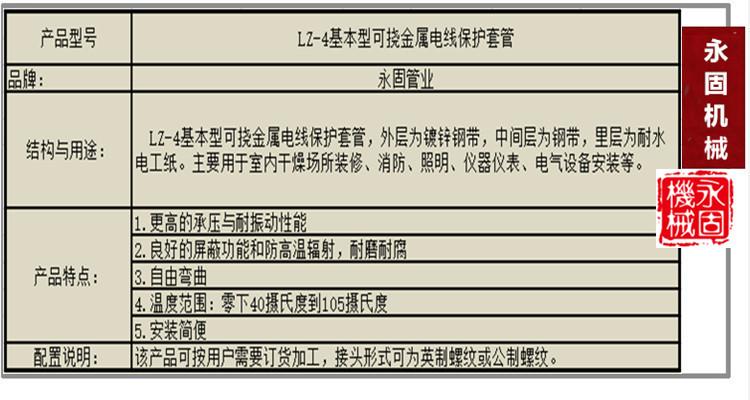 基本型LZ-4普利卡管产品介绍